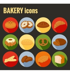Set of colored bakery icons vector