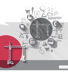Hand drawn crane icons with icons background vector image