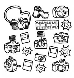 doodle cameras vector image