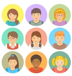 Flat style happy smiling different races kids vector