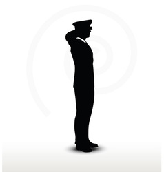 Army general silhouette with hand gesture saluting vector