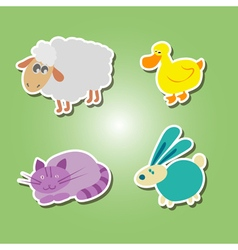 Icons with domestic animal kids drawing vector