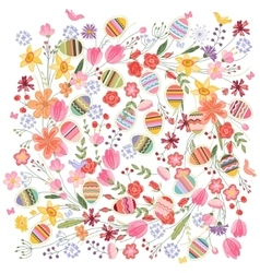 Easter square pattern with contour flowers and vector