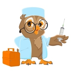 Owl doctor holding syringe owl veterinarian in vector