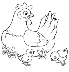 Hen and Chicks vector image