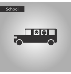 Black and white style icon of school bus vector