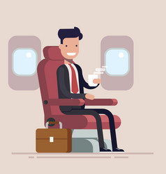 businessman or manager flies in an airplane vector image vector image