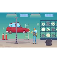 Car service garage cartoon composition poster vector