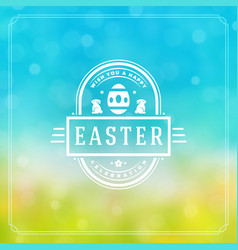 Happy easter greeting card design text template vector