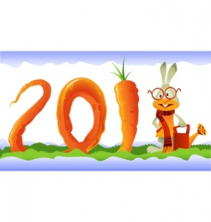 happy rabbit and curly carrot vector image vector image