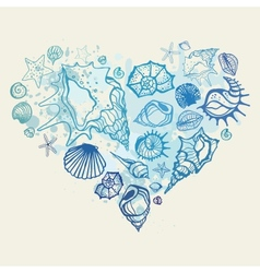 Heart of the shells vector image vector image