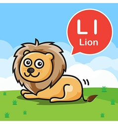 L Lion color cartoon and alphabet for children to vector image vector image