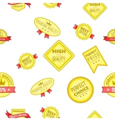 Label quality pattern cartoon style vector