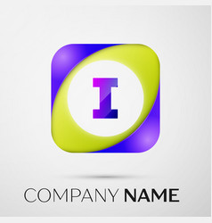 letter i logo symbol in the colorful square on vector image