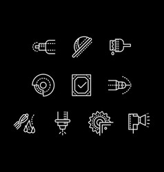 Metalworking elements white line icons set vector