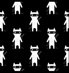 Ninja cat seamless pattern vector
