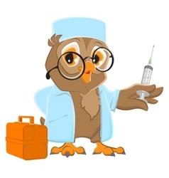 Owl doctor holding syringe Owl veterinarian in vector image
