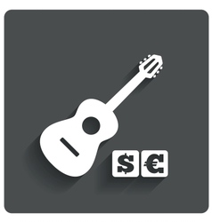 Paid music icon acoustic guitar music symbol vector