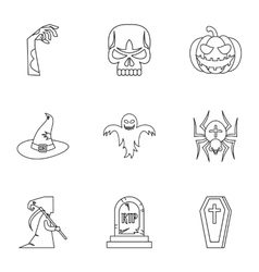 Resurrection of dead icons set outline style vector image vector image