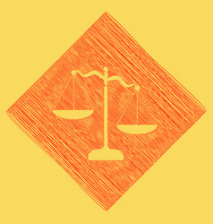 Scales of justice sign red scribble icon vector
