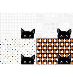 Set black cat background vector