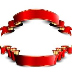 Two red royal ribbons vector image vector image