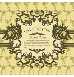 Vintage invitation card with antique floral frame vector image