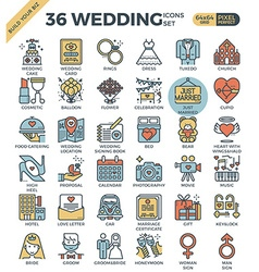 Wedding Love outline color icons vector image