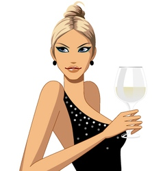 woman with wine vector image vector image