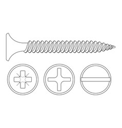 wood screw outline icon phillips frearson and vector image vector image
