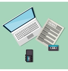 Laptop computer and newspaper vector