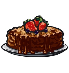 Chocolate tart with berries vector