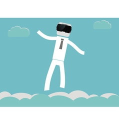 People flying in VR glasses vector image