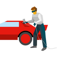 Mechanic spraying paint on red car from pulveriser vector