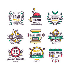 Hand made knitting and tailor set of labels vector