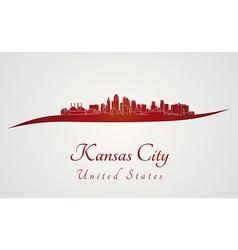 Kansas city skyline in red vector