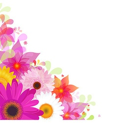 Flower background with gerbers and leafs vector