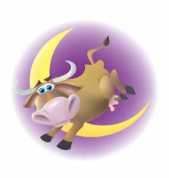 Cow jumped over the moon vector