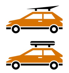 Car with luggage roof rack icon vector