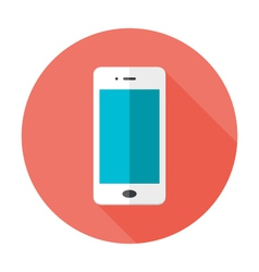 Mobile flat circle icon vector