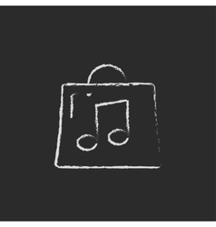 Bag with music note icon drawn in chalk vector