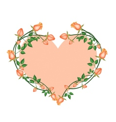 Orange roses flowers in a heart shape vector