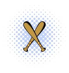 Two crossed baseball bats icon comics style vector