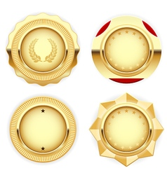 Golden medal and emblem insignia vector