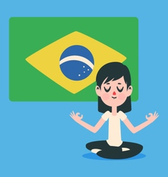 Zen brazilian girl meditating vector