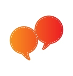 Speech bubble sign orange applique isolated vector