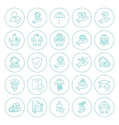 Line circle insurance icons set vector