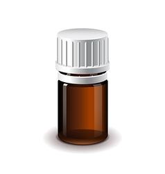 Small medical dark glass bottle isolated vector