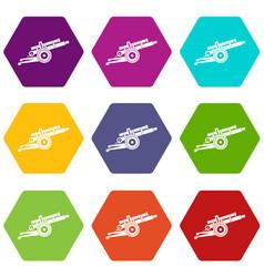 Artillery gun icon set color hexahedron vector