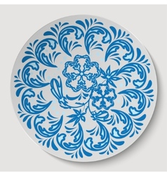 Blue circle floral ornament pattern drawing to the vector